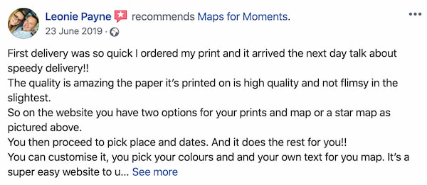 Maps for Moments quick delivery customer testimonial number one